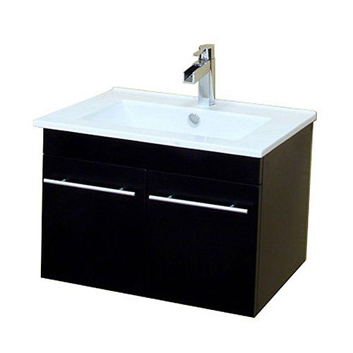 Jerez 24.40-inch W 2-Door Wall Mounted Vanity in Black With Ceramic Top in White