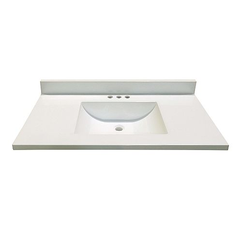 37-Inch W x 19-Inch D Marble Vanity Top in White with Wave Bowl