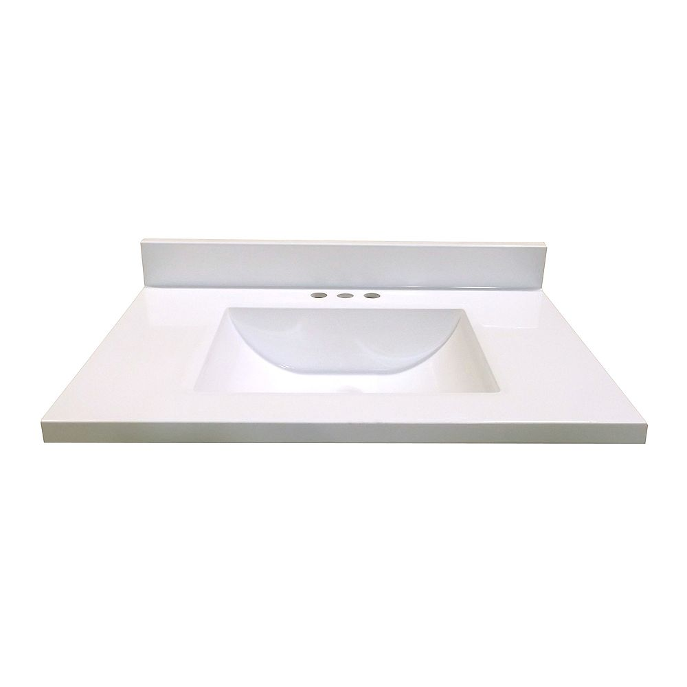 Magick Woods 31 In. W x 22 In. D White Vanity Top with Wave Bowl