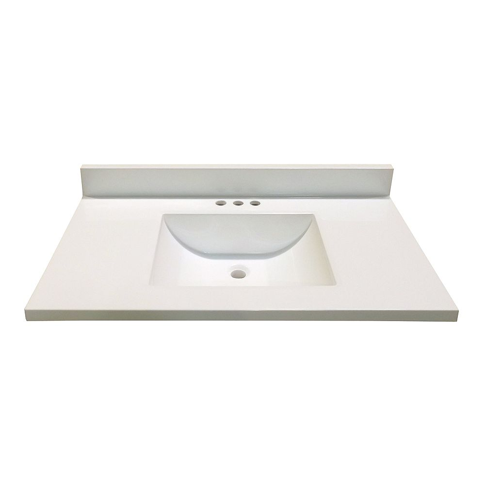 Magick Woods 37-Inch W x 22-Inch D Marble Vanity Top in White with Wave Bowl