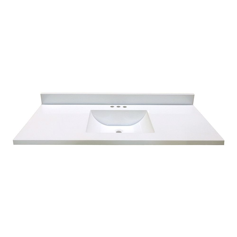 Magick Woods 49 In. W x 22 In. D White Vanity Top with Wave Bowl