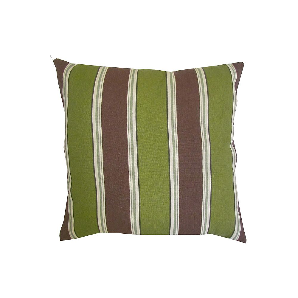 Bozanto Inc. Outdoor Conversation Chair Toss Cushion with Green and Brown Stripe