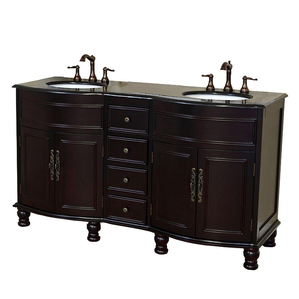 Bellaterra Cambridge 62-inch W 4-Drawer 4-Door Freestanding Vanity in Brown With Granite Top in Black, 2 Basins