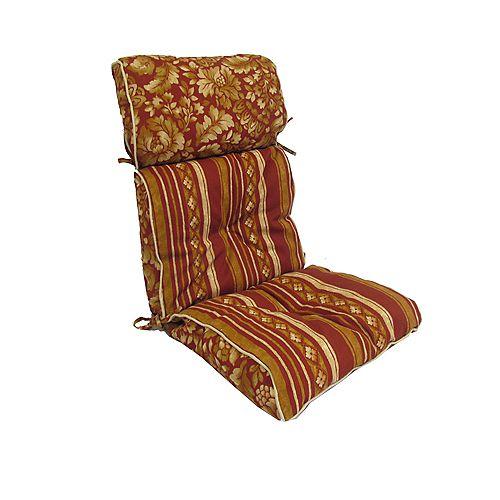 High Back Cushion in Brown Stripes
