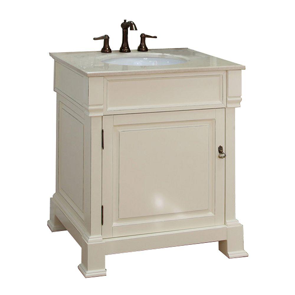 Bellaterra Olivia 30-inch W 1-Door Freestanding Vanity in White With Marble Top in Beige Tan
