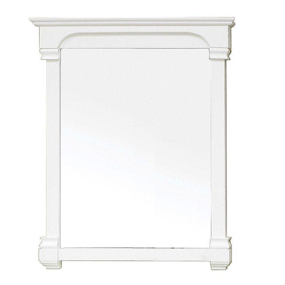 Bellaterra Supai 42 In. L X 36 In. W Solid Wood Frame Wall Mirror in Cream White