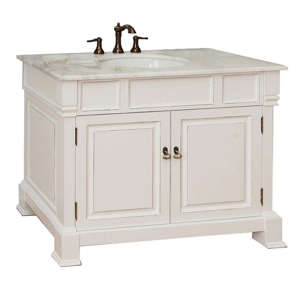 Bellaterra Olivia 42-inch W 2-Door Freestanding Vanity in White With Marble Top in White
