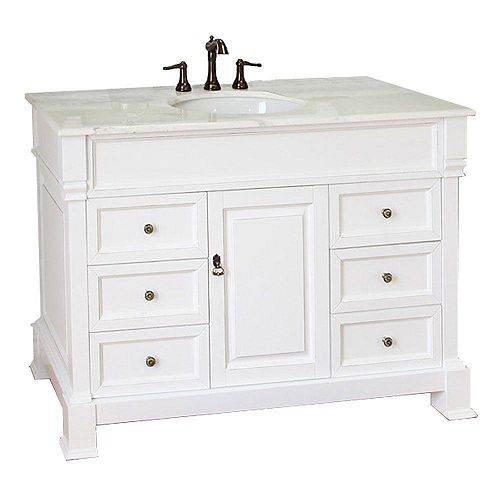 Olivia 50WH 50-inch Single Vanity in White with Marble Vanity Top in White