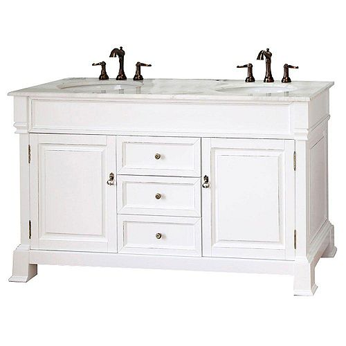 Cambridge 60-inch W 3-Drawer 2-Door Vanity in White With Marble Top in White, Double Basins