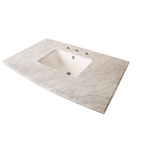 36-Inch W Carrara Marble Vanity Top in White with Rectangular Sink