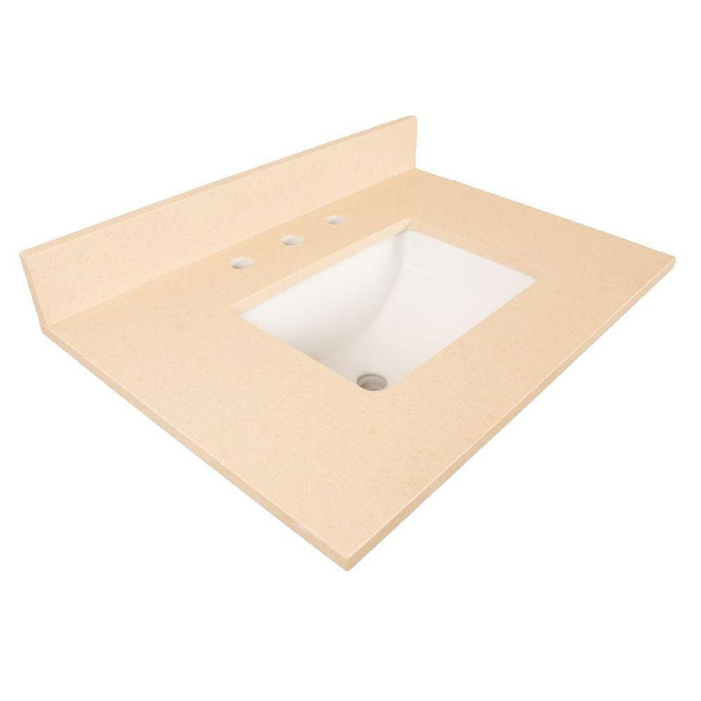 Bellaterra 30-Inch W Quartz Vanity Top in Beige with Rectangular Sink