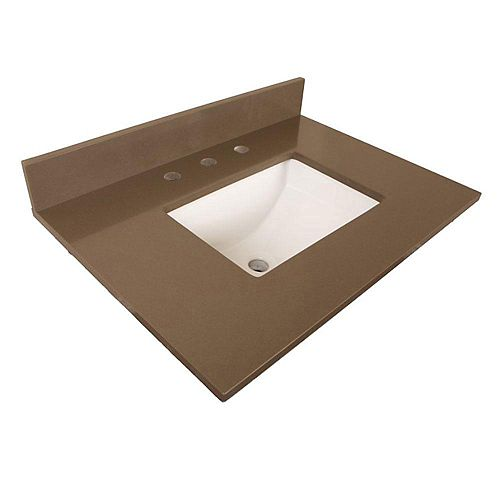 30-Inch W Quartz Vanity Top in Taupe with Rectangular Sink