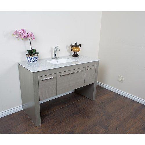 Bellaterra 55.30-inch W 1-Drawer 2-Door Freestanding Vanity in Grey With Marble Top in White
