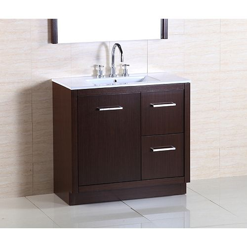 36-inch W 2-Drawer 1-Door Freestanding Vanity in Brown With Ceramic Top in White