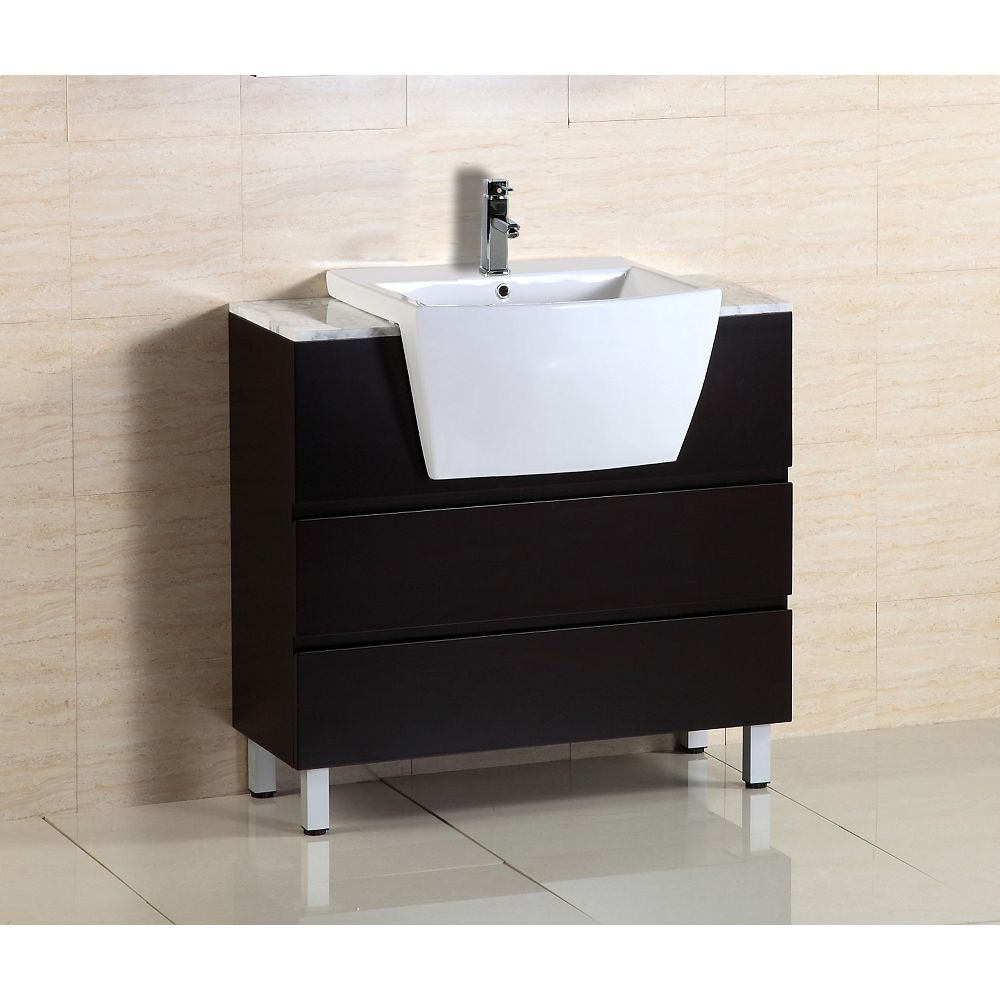 Bellaterra 36-inch W 2-Drawer Freestanding Vanity in Black With Marble Top in White