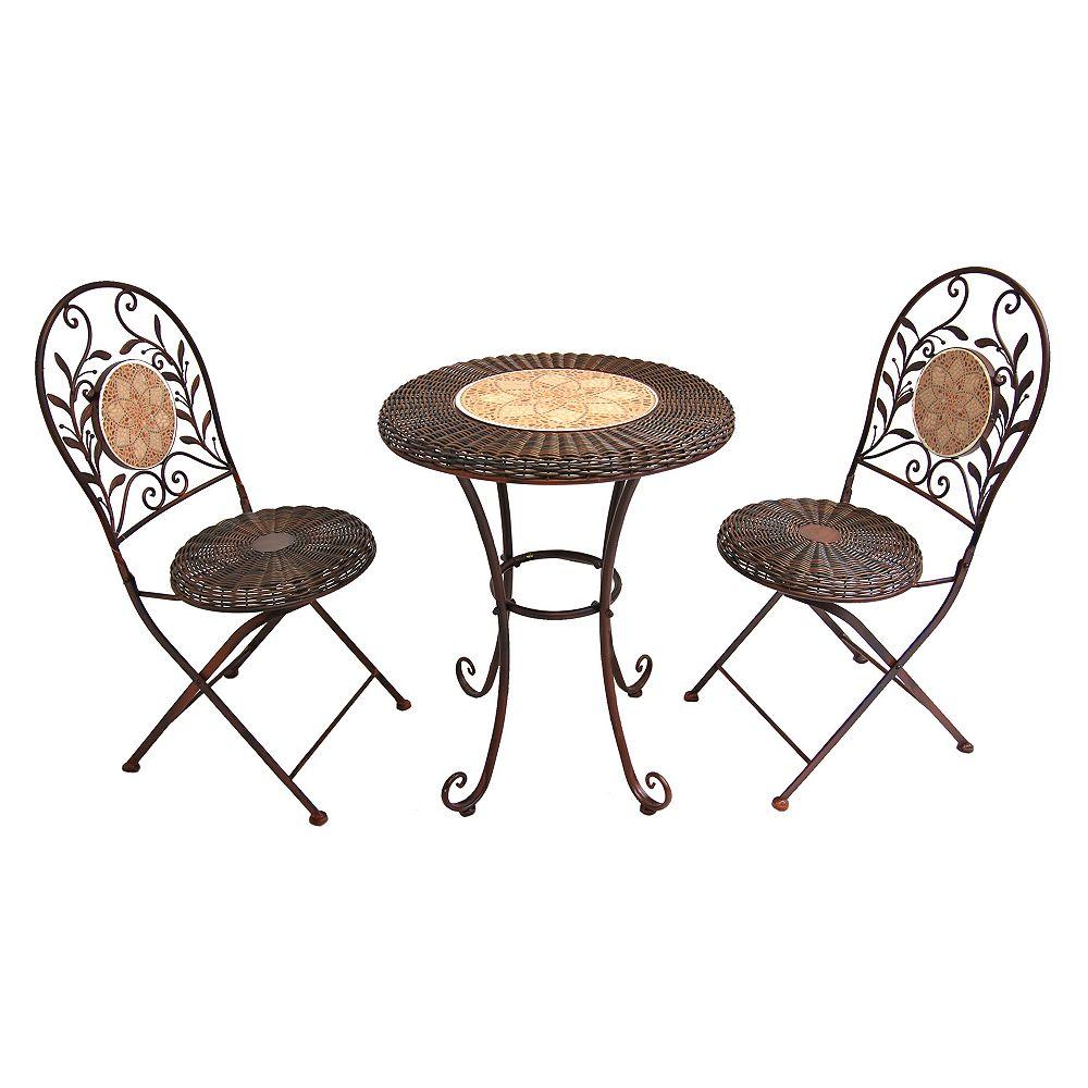 Henryka 3-Piece Patio Bistro Set Round Table Steel Frame in Beige