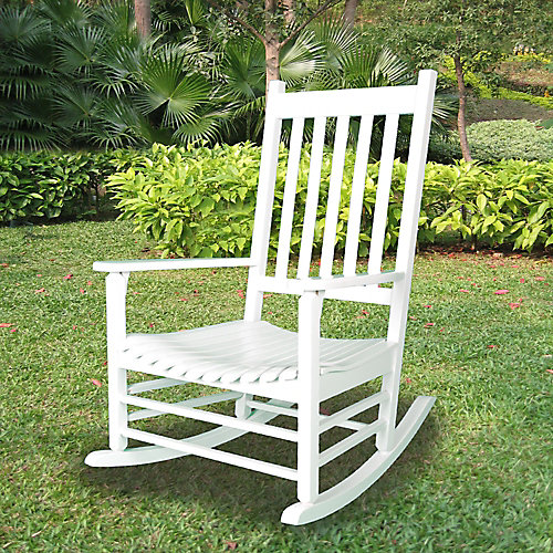 Rubberwood White Rocker