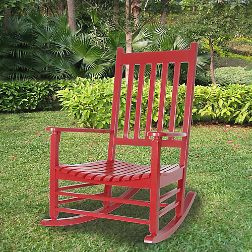 Deluxe Rubberwood Patio Rocking Chair in Red