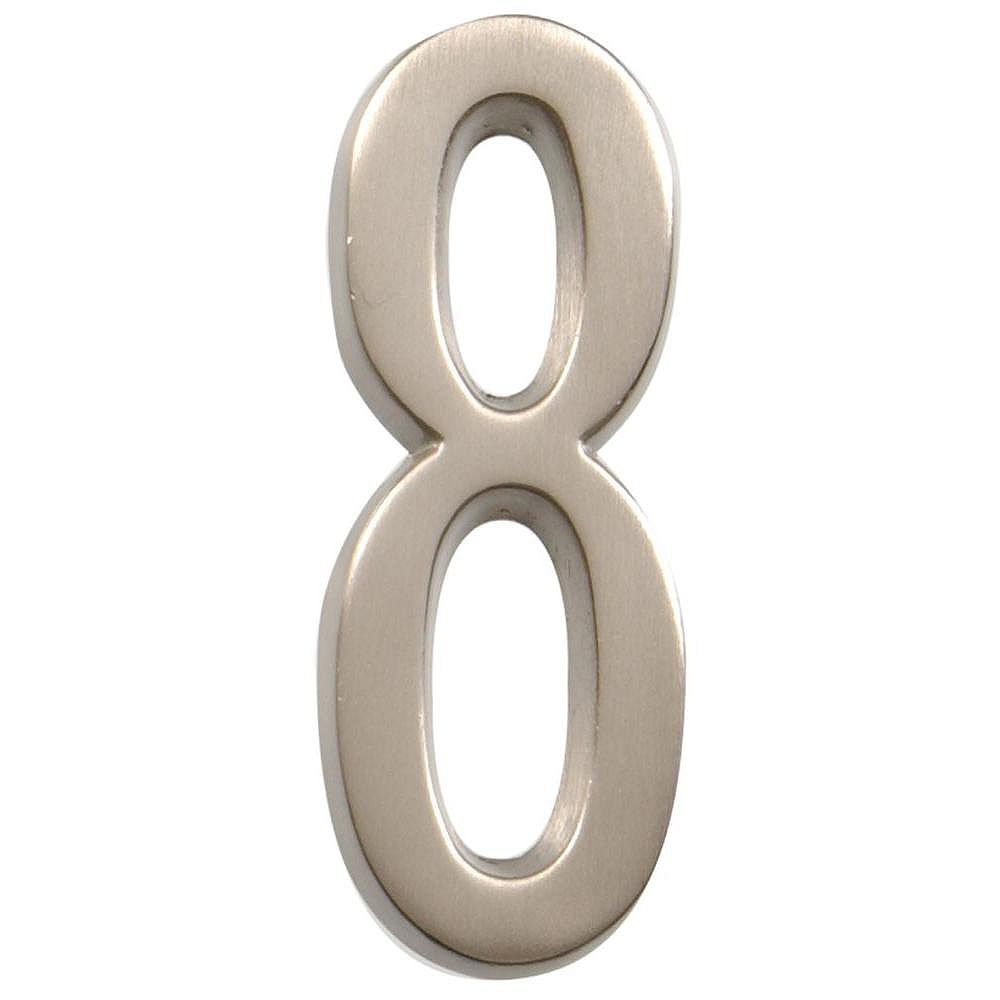 Hillman 4 Inch Stick-On Brushed Nickel House Number 8