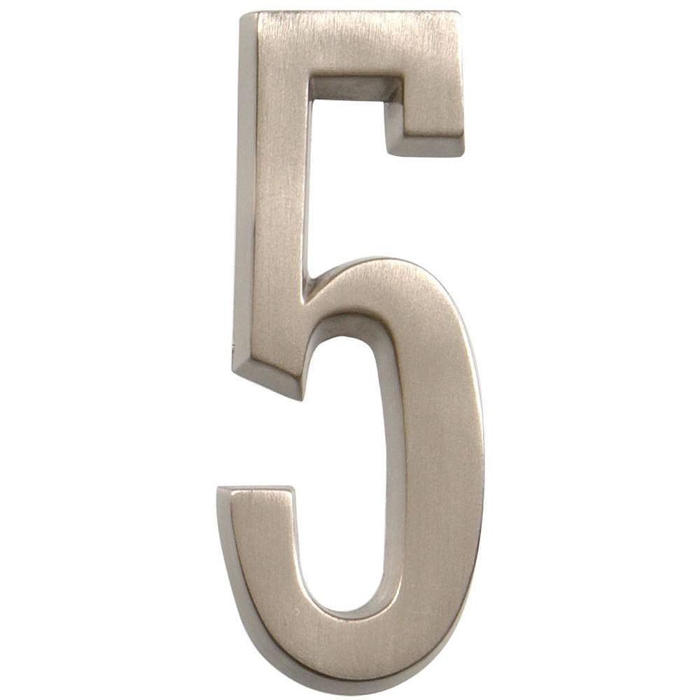 Hillman 4 Inch Stick-On Brushed Nickel House Number 5
