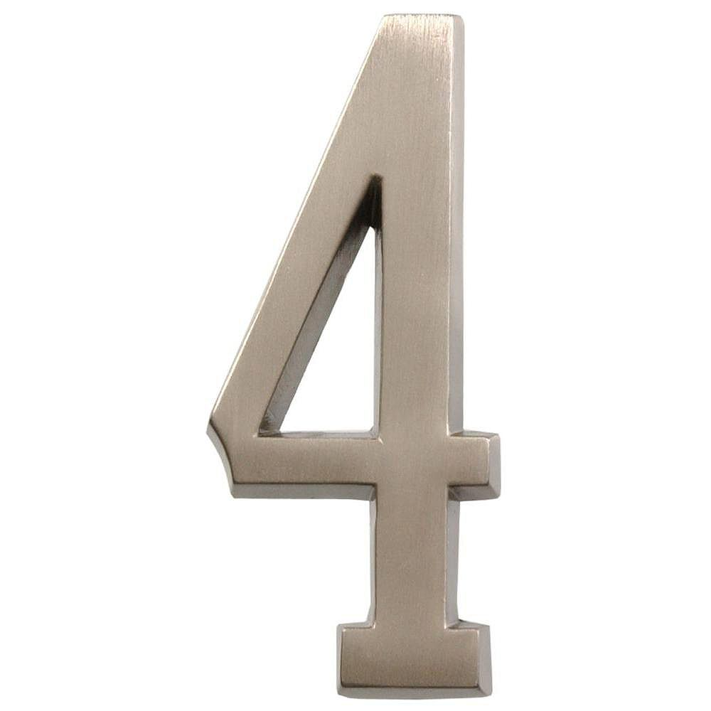 Hillman 4 Inch Stick-On Brushed Nickel House Number 4