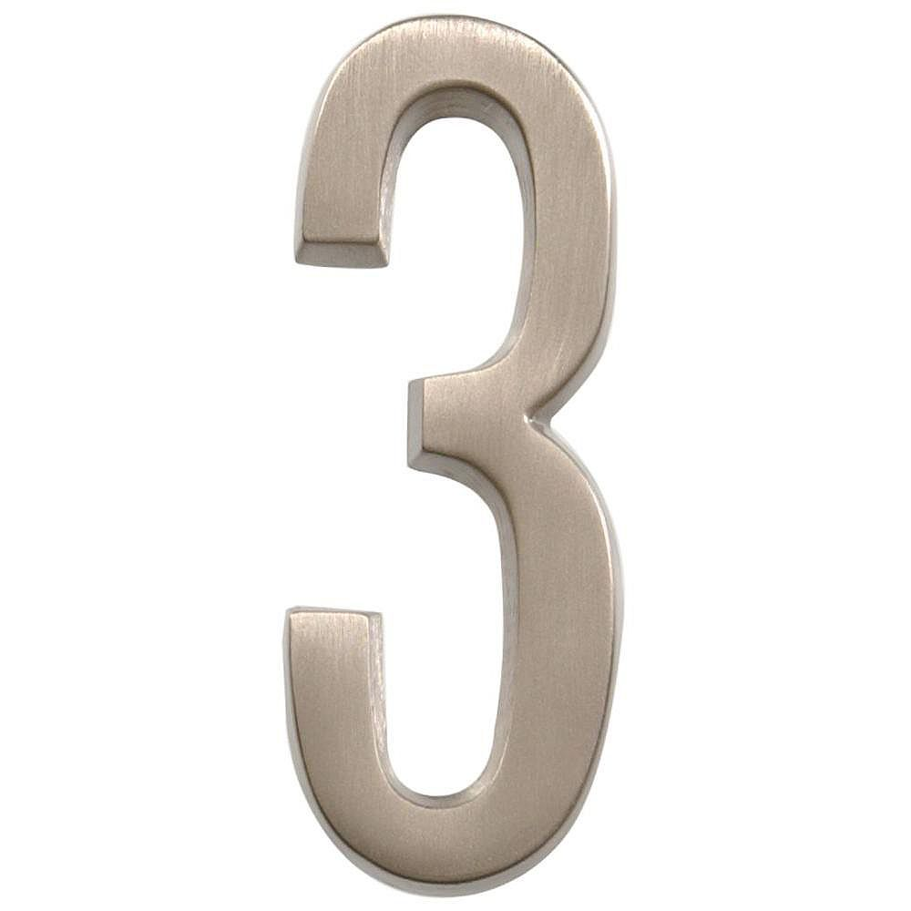 Hillman 4 Inch Stick-On Brushed Nickel House Number 3
