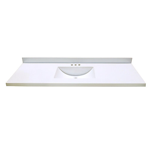 61 In. W x 22 In. D White Vanity Top with Wave Bowl