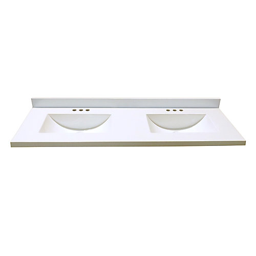 Revêtement de comptoir pour meuble-lavabo en blanc avec deux lavabos à fond incurvé de 1,54 m x 55,88 cm