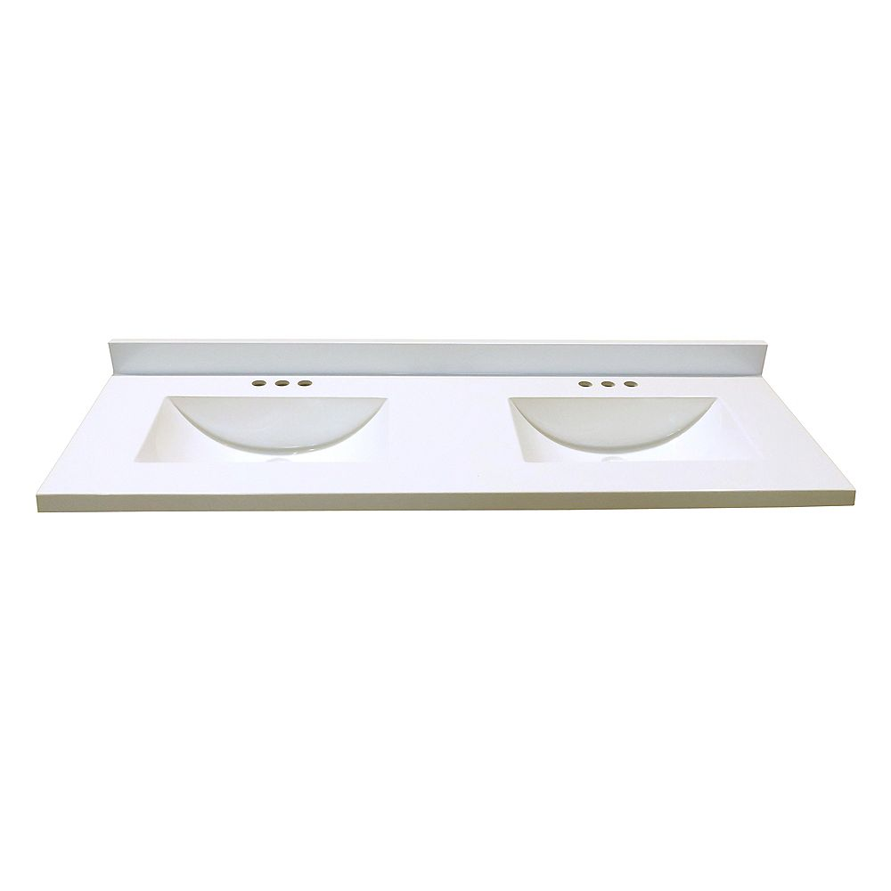 Magick Woods 61-Inch W x 22-Inch D Marble Vanity Top in White with 2 Wave Bowls