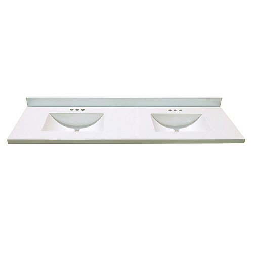 73-Inch W x 22-Inch D Marble Vanity Top White with 2 Wave Bowls