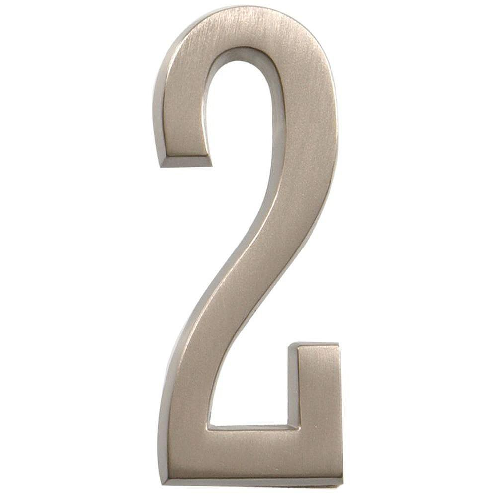Hillman 4 Inch Stick-On Brushed Nickel House Number 2