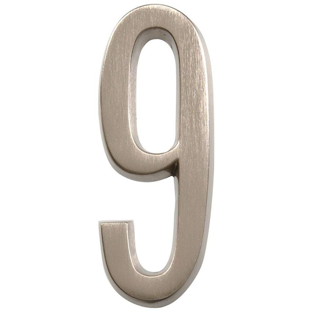 Hillman 4 Inch Stick-On Brushed Nickel House Number 9