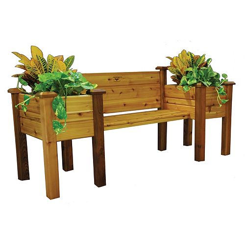 24-inch x 82-inch x 36-inch Planter Bench with Food Safe Finish