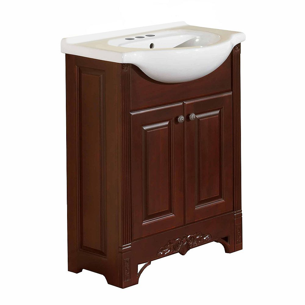 Magick Woods Eurostone Elegance 26-inch W 2-Door Freestanding Vanity in Brown With Ceramic Top in White