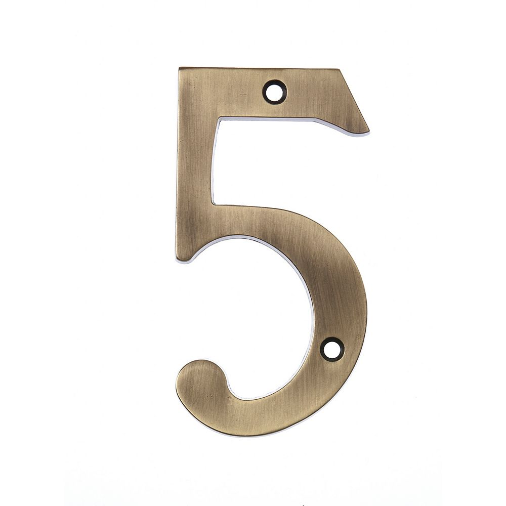 Hillman 6 Inch Aged Brass House Number 5