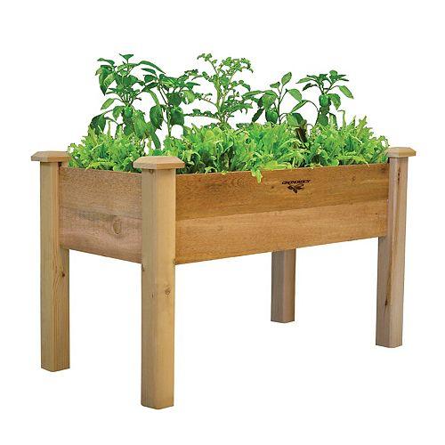 Jardinière surélevée avec 9 po de profondeur, 24 po x 48 po x 30 po, style rustique