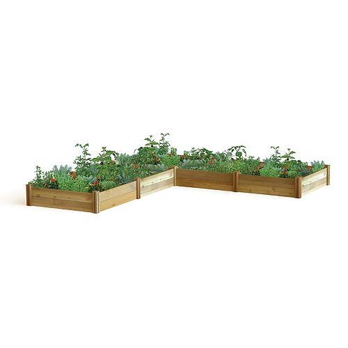 Planche de jardin modulaire en L, 142 x 142 x 13po