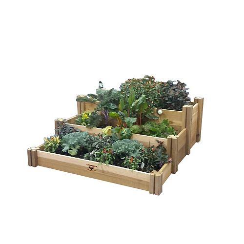 Planche de jardin rustique à plusieurs niveaux, 48 x 50 x 19po