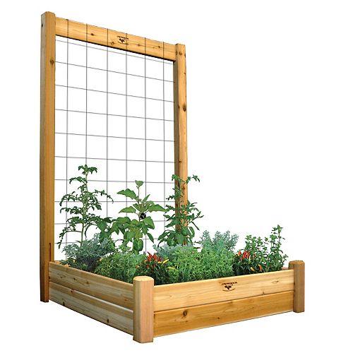 Planche de jardin de 48 x 48 x 13po avec treillis de 48 x 80po, fini non toxique