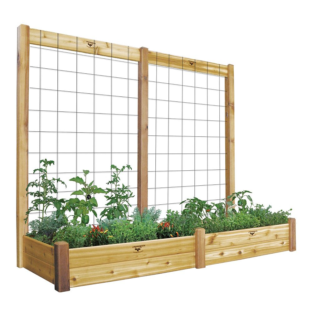 Gronomics 34-inch x 95-inch x 80-inch x 10-inch D Raised Garden Bed with Trellis Kit & Food Safe Finish