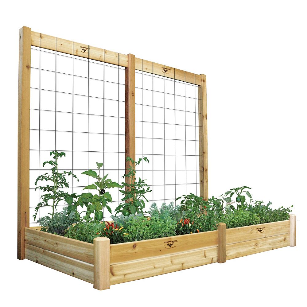 Gronomics 48-inch x 95-inch x 80-inch x 10-inch D Raised Garden Bed with Trellis Kit