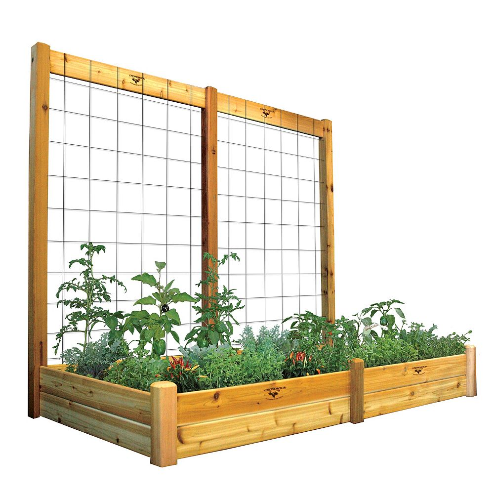 Gronomics 48-inch x 95-inch x 80-inch x 10-inch D Raised Garden Bed with Trellis Kit & Food Safe Finish