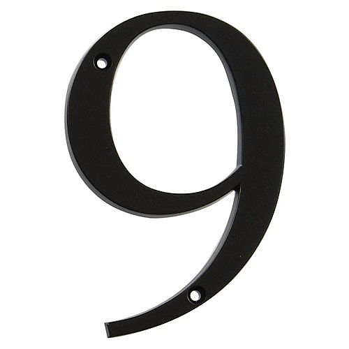 4-inch Black House Number 9 - 1pc