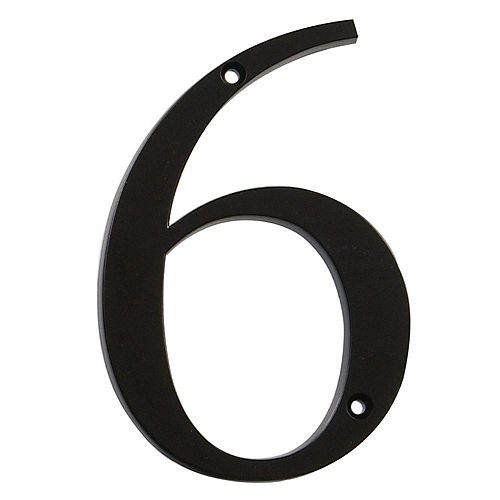 4-inch Black House Number 6 - 1pc