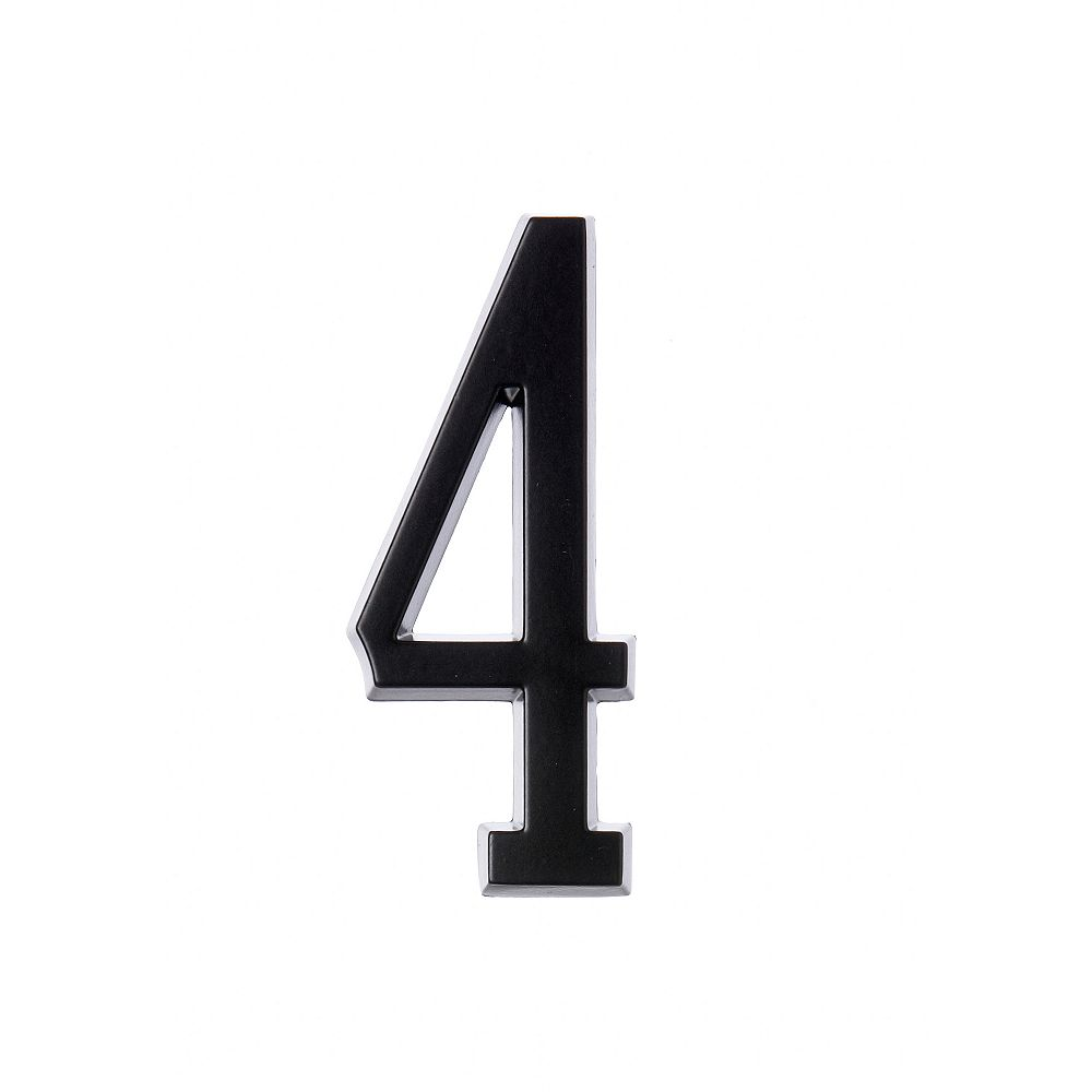 Hillman 4 Inch Stick-On Black House Number 4