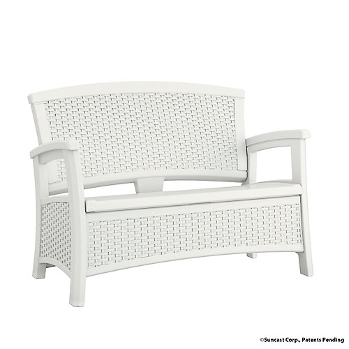 Wicker Bench with Storage in White