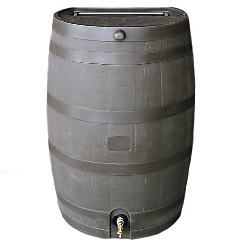 Flat Back 50 USG Rain Barrel with Brass Spigot in Mud