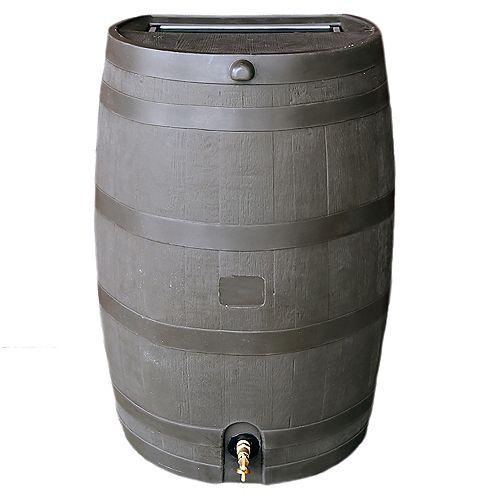 Baril à dos plat 50 USG / 190 L, brun avec robinet en laiton