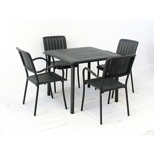 Patio Dining Set with Maestrale Square Table and Four Musa Arm Chairs in Charcoal