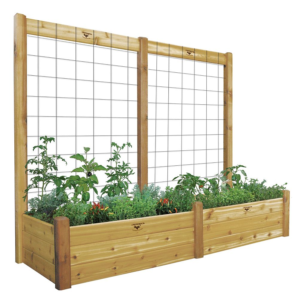 Gronomics 34-inch x 95-inch x 80-inch x 15-inch D Raised Garden Bed with Trellis Kit
